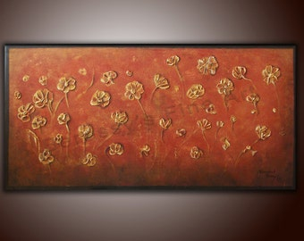 "FREE SHIPPING 18""x36"" Original Abstract Painting by Alexandra H. Beressy "" Gold Meadow """