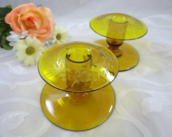 Vintage Etched Amber Yellow Glass Candle Holders Candlesticks