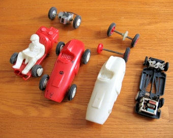 1960s 4 Toy  Slot Cars and Pieces