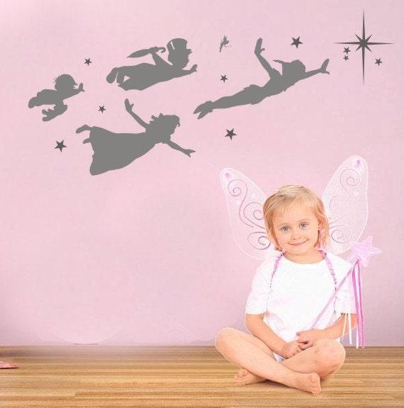 peter pan children flying wall frieze vinyl wall decal