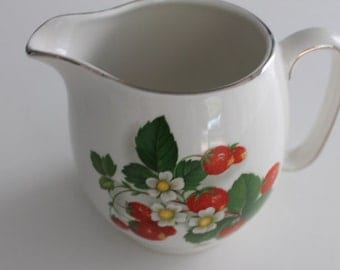 Vintage Royal Winton Pitcher Strawberries White Flowers