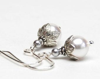 Small White Pearl Earrings with Flower Bead Caps - Swarovski Crystal Pearl Earrings - Bridal Jewelry