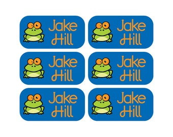 100 - Personalized Clothing Tag Labels, Laundry Care Tag Labels, Camp Clothing Labels - Frog