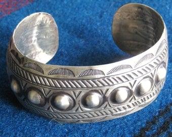 Vintage Sterling Silver Cuff Bracelet Signed Bohemian Tribal
