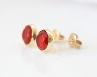 Carnelian stud earrings • Gold post earrings set with carnelian gemstones • Red ear studs