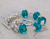 Handmade Lampwork Glass Beaded Bracelet, Sterling Silver, Green, Aquamarine and Teal, Blue Topaz Heart Toggle, Byzantine Chainmaille Weave