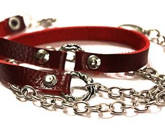 Handmade Original Red leather and Chain Bracelet