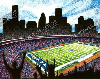 """Limited Edition Houston Texans watercolor painting entitled """"Victory!""""- football art print- sports- 11"""" x 14"""""""