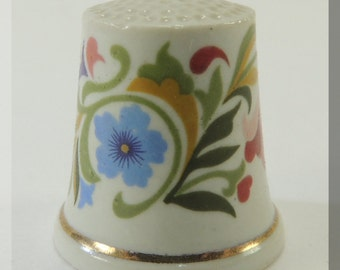 Vintage Floral Gold Trim Porcelain WGPH Franklin Mint Thimble