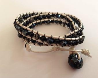 Black & White leather wrap bracelet