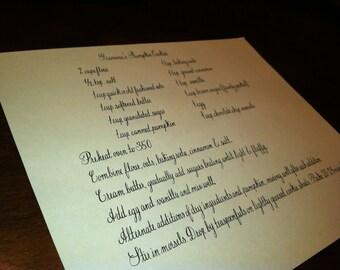 Custom Recipe Handwritten in Calligraphy