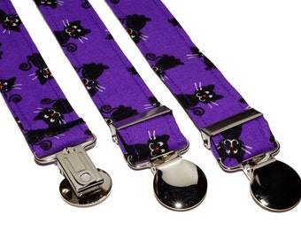 Purple Kitty Cats Adjustable Suspenders