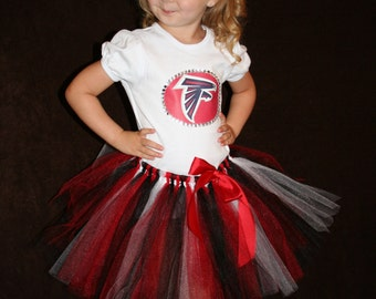 Custom made  Boutique Pageant 3pc Atlanta Falcons tutu set with matching hairbow. toddler size 2T 3T 4T 5T