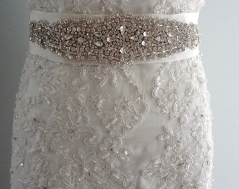 Wedding sash, Bridal belt , Bridal sash  ribbon with crystal and rhinestone beaded applique sash