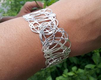 Sterling silver bracelet ,Links bracelet, Statement silver bracelet from the kishkush collection.Made to order