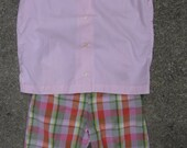 Vintage Mod Girls Shirt Pink Blouse and Plaid Shorts 2 Piece Outfit Pink Plaid Size 8 1960s Made by Les-Mor in USA