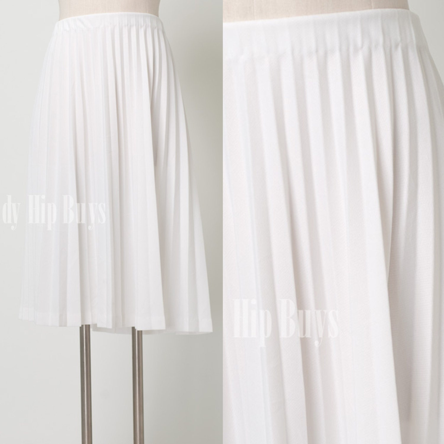 vintage 60s 70s white accordion pleated by