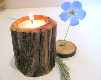Handmade candle holder. One woodland tealight candle holder cut from dead standing juniper.