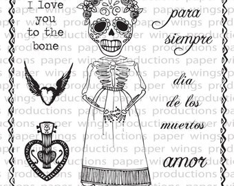Day of the Dead Mujer Clear Rubber Stamp Set