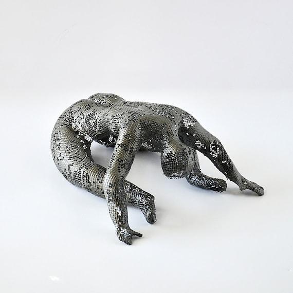 180501-13-Modern Brutalist Female Nude Figure Metal