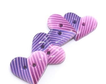 Polymer Clay buttons with stripes pattern, handmade Ombre buttons, purple and pink heart buttons, unique pattern, set of 4