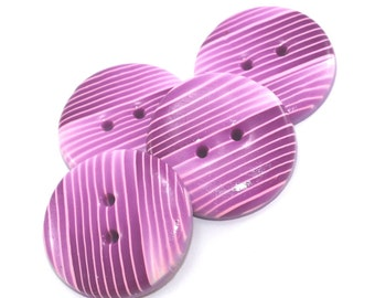 Big buttons with stripes, Polymer Clay buttons in gradient color transformation of pinks, set of 4 handmade buttons, bag decoration