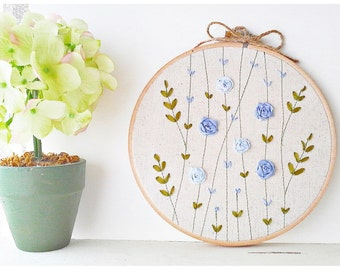 Ribbon Embroidery hoop wall art - Blue Rose hand embroidery Garden Spring