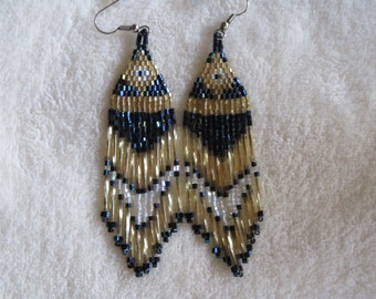 Gold and Blue Hand beaded earrings