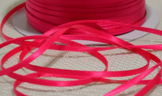 Shocking Pink 1 8 Inch Double Face Narrow Satin Ribbon 10