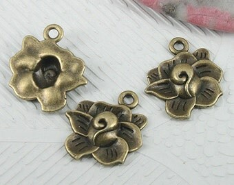 30pcs antiqued bronze color flower charms EF0618