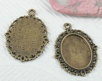 20pcs antiqued bronze color rim cabochon settings EF0685