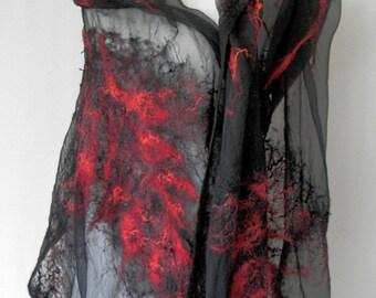 nuno felted silk scarf shawl wrap RED COMET handmade art to wear, silk wool scarf, eco fashion by Kantorysinska