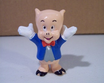 Vintage Looney Tunes Porky Pig Pvc Figure, 1990 Applause, Cake Topper