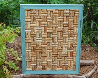 Shabby Chic Recycled Wine Cork Board/ Message Board/ Office Decor/Cork Board