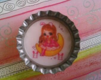 Kawaii bunny girl bottlecap magnet