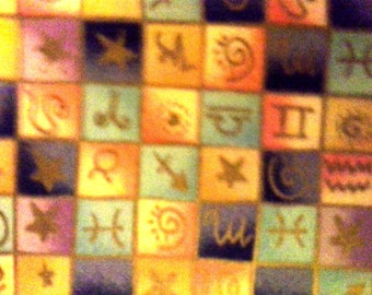 Hand Crafted Large Astrological Signs Print Therapeutic Rice Bag