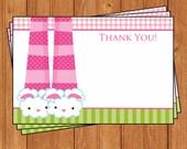 Pancakes & Pajamas Thank You Cards Instant Download KBI394TY