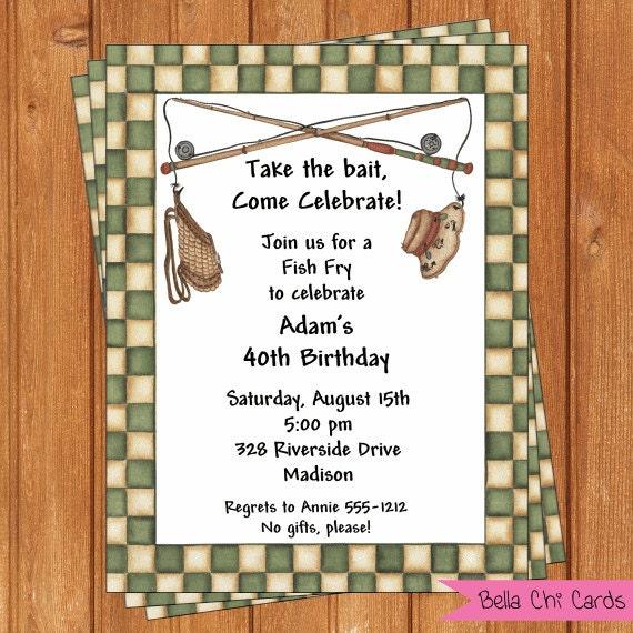 Fish fry invitation adult birthday printable editable for Fishing birthday party invitations