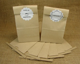 Kraft Bags  - Self Closing - Perfect For Wedding Coffee Favors - Kraft Favor Bags - 10