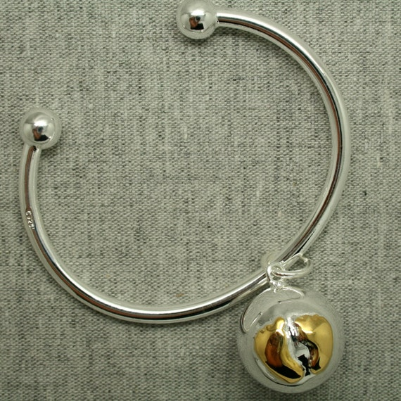 Lexie Sterling Silver Harmony Cage with Silver and Gold Bola Ball Pendant & Bracelet Baby Feet