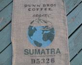 Burlap Coffee Bag, Dunn Bros Gunny Sack, Sumatra, Advertising, Home Decor DIY
