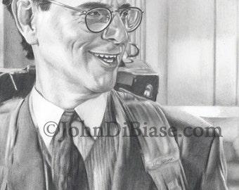 Drawing Print of Harold Ramis as Egon Spengler in Ghostbusters 2
