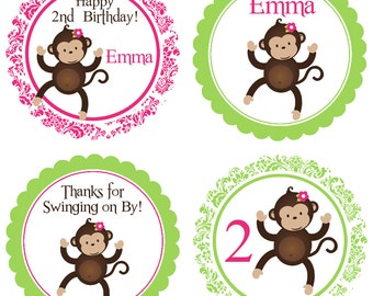 Mod Monkey Party Circles - Pink and Green Damask, Cute Jungle Zoo Girl Monkey Personalized Birthday Party Circles - Digital Printable File