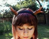Deer antler headband - Natural tones with golden glitter.