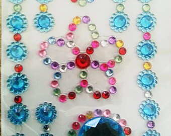 Deco Rhinestone sticker sparkling cell phone bling kawaii flower heart colorful