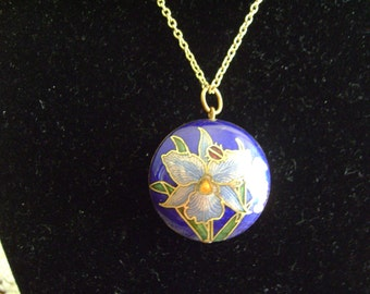 Vintage Cloisonne Colorful Flower Double Sided Necklace