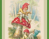 Gnomes Playing on Toadstool Antique Graphic Cross Stitch Pattern PDF Instant Download