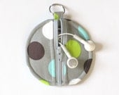 Circle Zip Earbud Pouch / Coin Purse- Gray, Brown, Lime Green, and Turquoise Polka Dots