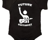 Future Guitarist Rock Baby One Piece Bodysuit Romper in Black