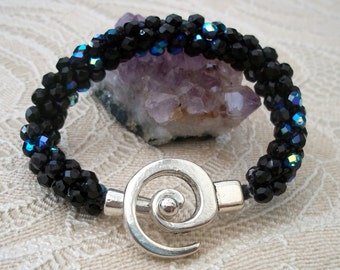 Kumihimo Bracelet with Fire Polished Beads and Spiral Clasp